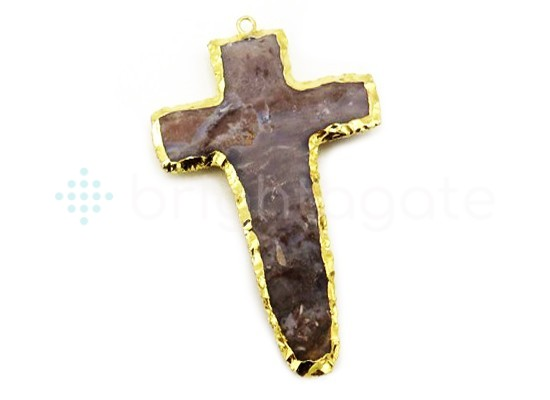 Agate Handknapped cross gold Electroplated pendant.