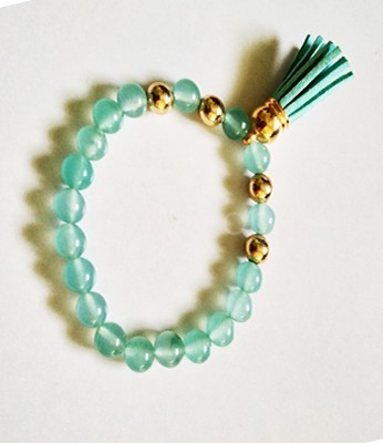 Aqua Crystal Beaded Tassel Bracelet