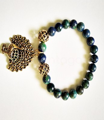 Chrysocolla round beads Fency bracelets With Metal Peacock