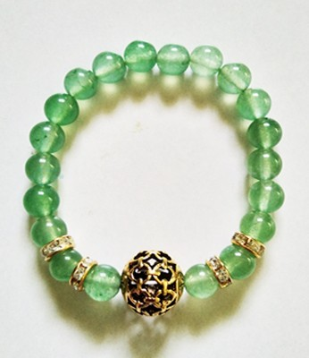 Green Aventurian With Golden Beads Bracelet