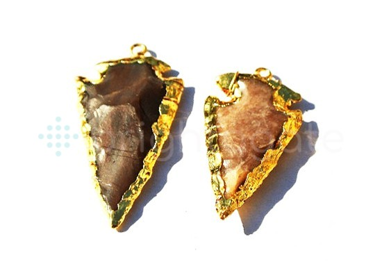1inch Jasper Arrowhead Pendant Gold Electroplated