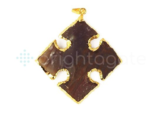 2inch Jasper arrowhead pendant gold electroplated