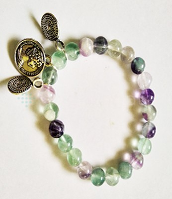 Multy Floarite Beads with Coin Bracelet