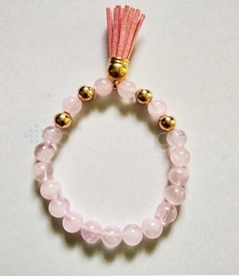 Rose Quartz Beaded Tassel Bracelet