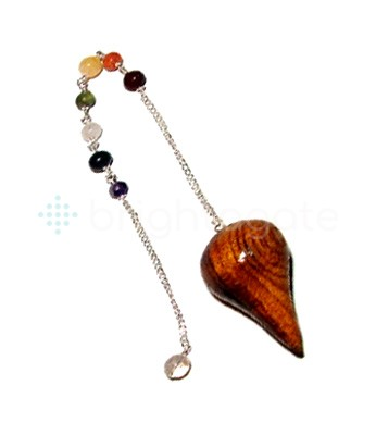Rose Wood Egyptian Pendulum with chakra chain