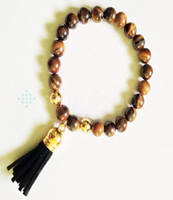 Tiger Eye Fency Beaded Tassel Bracelet