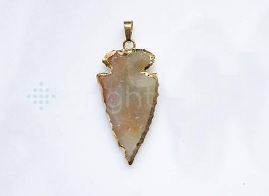 4 inch long natural handmake carved arrowhead stone pendant